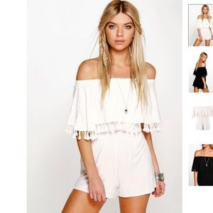 Tassle off-shoulder romper, NWT